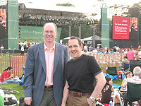 J. David Jackson (left, with AOP Board Mamber John Buscarello) at the Metropolitan Opera's summer concert in Prospect Park, Brooklyn.