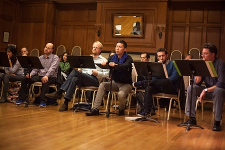 Fellows from the seventh season of Composers & the Voice in a workshop session. Brooklyn, NY. Photo by Ted Gorodetzky