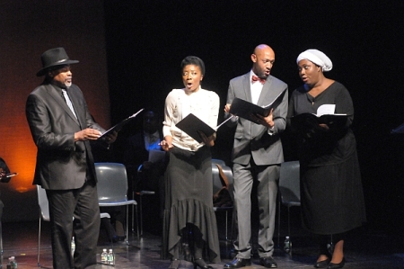 Clinton Ingram, Sequina DuBose, Damian Norfleet, and Nicole Mitchell in a December 2013 concert presentation of the opera at Schomburg Center for Research in Black Culture, Harlem, NY.