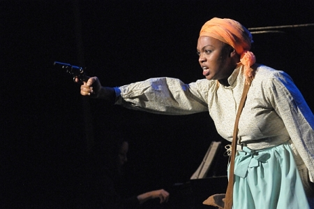 Soprano Sumayya Ali as Harriet Tubman in a December 2013 concert presentation of the opera at Schomburg Center for Research in Black Culture, Harlem, NY.