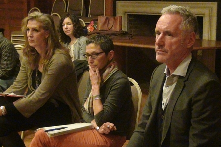 Creators Kimberly Reed, Laura Kaminsky, and Mark Campbell (with Mila Henry in bg) at early AOP workshop of As One.