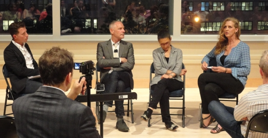 Jean Malpas (far left) leads a discussion with As One's creators (l. to r.) Mark Campbell, Laura Kaminsky, and Kimberly Reed after a June workshop at BAM Fisher.