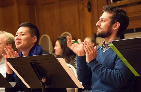 Kim and Rubinstein in a 2013 Composers & the Voice workshop session. Photo by Ted Gorodetzky.