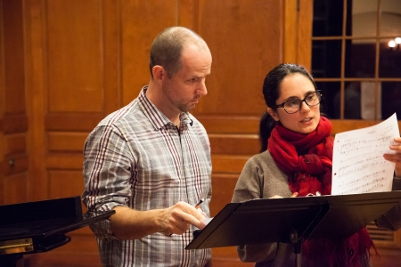 Bass-baritone Matthew Worth works with composer Andreia Pinto- Correia during a 2013 C&V workshop. Photo by Ted Gorodetzky