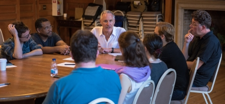Librettist Mark Campbell (The Manchurian Candidate, Silent Night) gives a lecture to the 2015-16 C&V fellows. Photo by Steven Pisano for AOP.